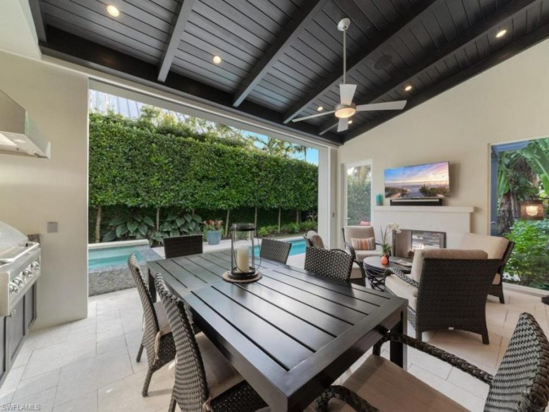 outdoor seating area with pool of Naples rental