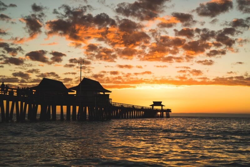 the naples pier at sunset