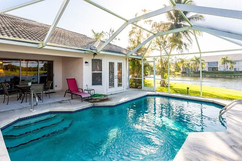 enclosed pool in backyard