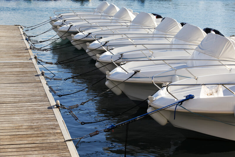 Naples boat rentals lined up and ready to be enjoyed
