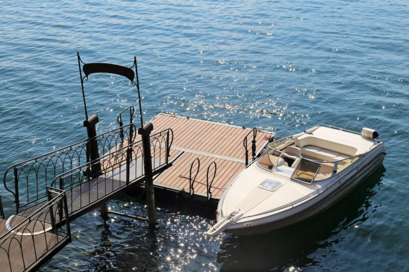 A Naples boat rental sitting at the dock